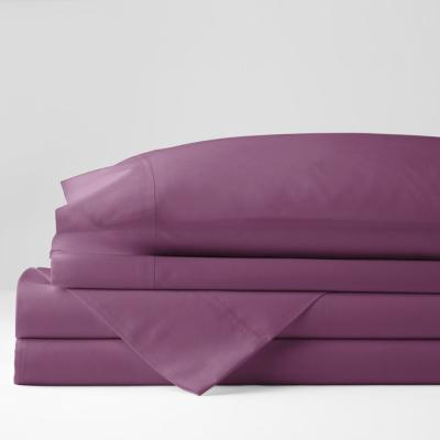 Company Cotton 4-Piece Berry Solid 300 Thread Count Percale King Sheet Set