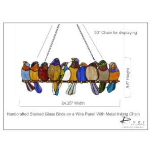 Stained Gl Birds On A Wire | River Of Goods Multi Stained Glass Birds On A Wire Window Panel