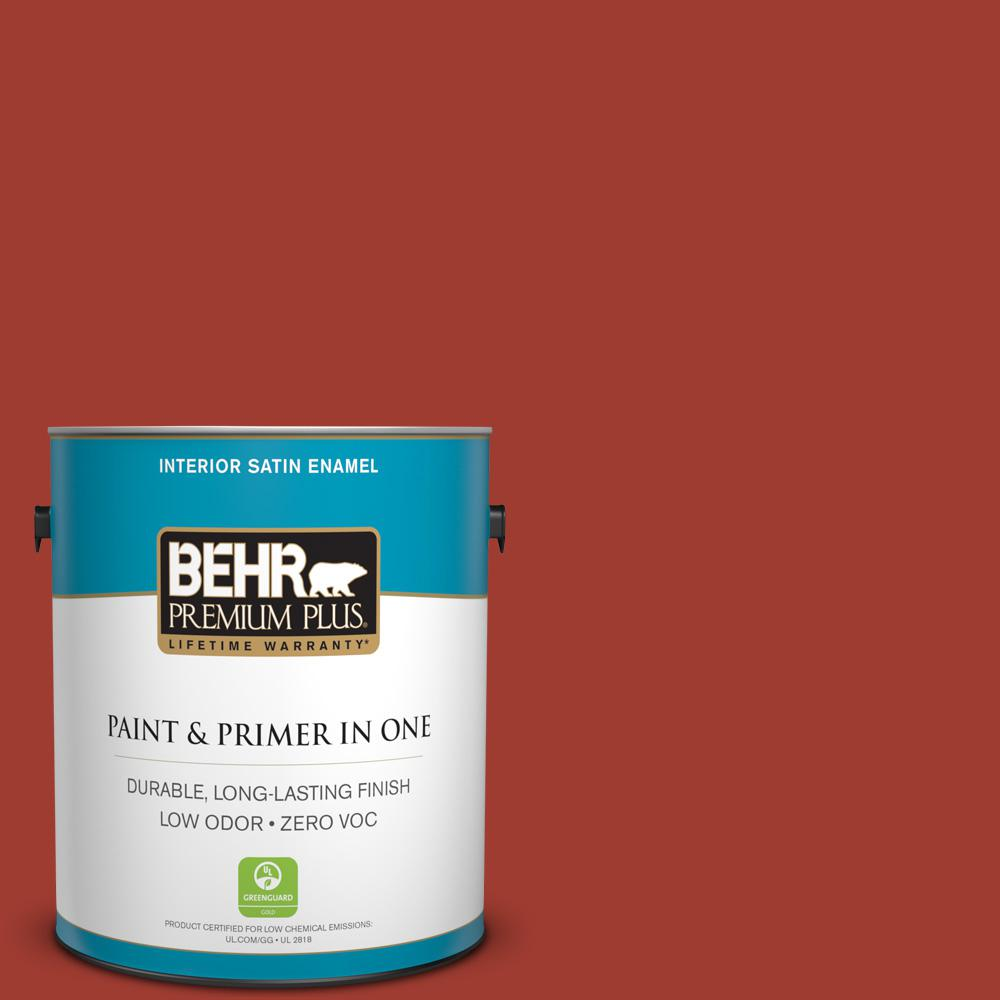 1 gal. #PPU2-16 Fire Cracker Zero VOC Satin Enamel Interior Paint