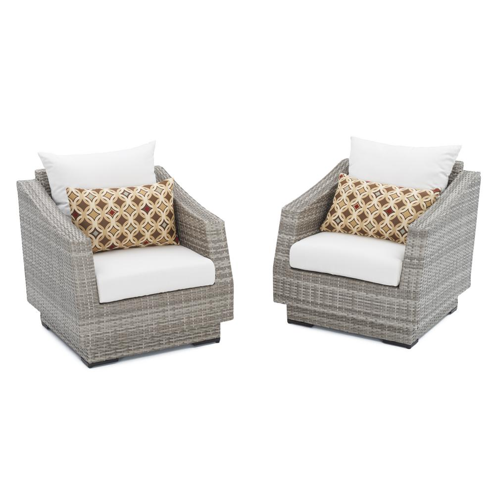 RST Brands Cannes Patio Club Chair With Moroccan Cream Cushions (2 Pack)