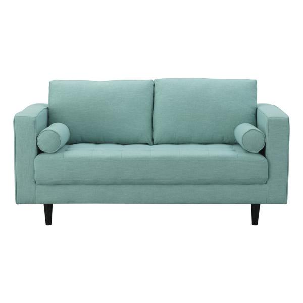 Manhattan Comfort Arthur 2-Seat Mint Green-Blue Tweed Loveseat 982HL5