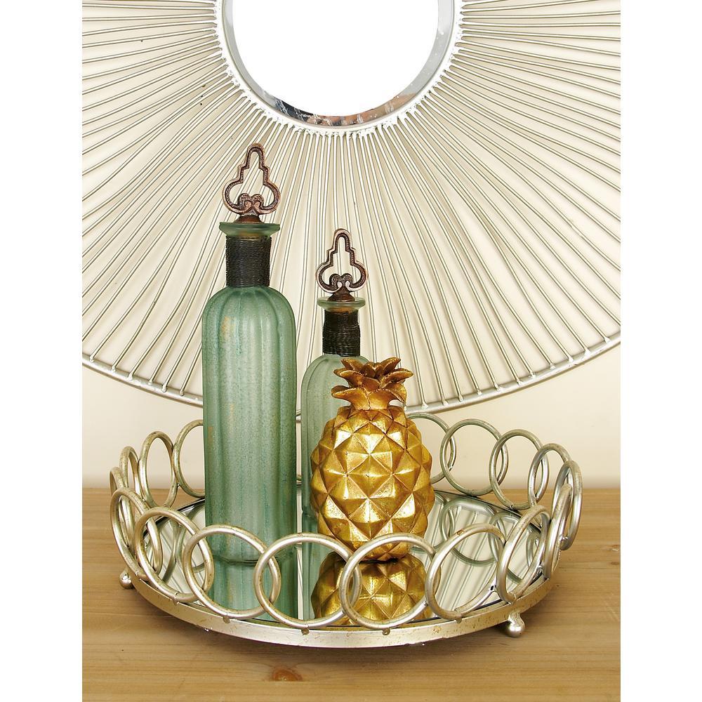 Modern Silver Decorative Round Ring Mirror Trays (Set of 2)