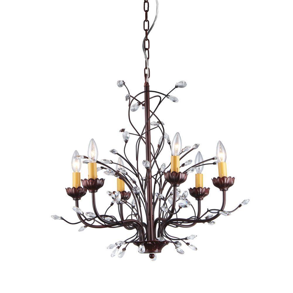 Kinsley wonderland 6 light bronze indoor crystal chandelier with kinsley wonderland 6 light bronze indoor crystal chandelier with shade arubaitofo Images