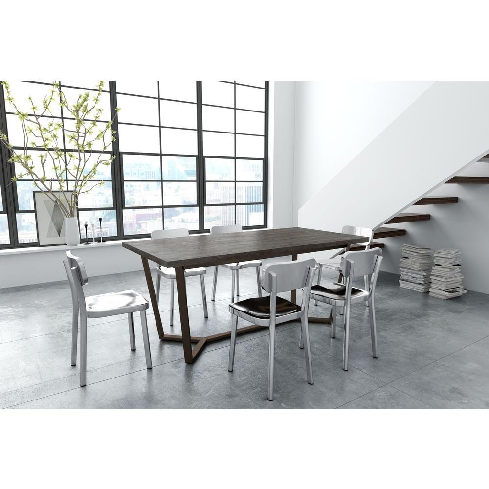 ZUO Brooklyn Gray Oak And Antique Brass Dining Table