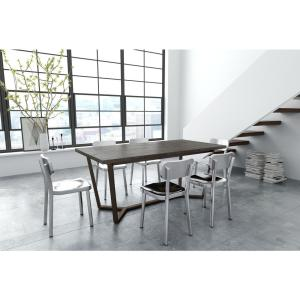 Brooklyn Gray Oak And Antique Brass Dining Table