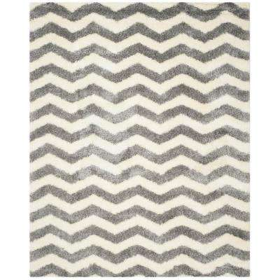 Montreal Shag Ivory/Gray 6 ft. 7 in. x 9 ft. 6 in. Area Rug