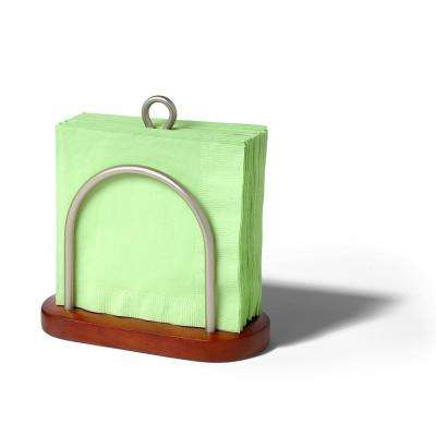 Sierra Countertop Walnut Satin Nickel Napkin Holder