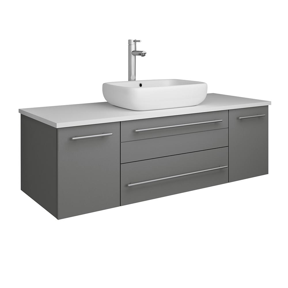 Fresca Lucera 48 in. W Wall Hung Bath Vanity in Gray with Quartz Stone Vanity Top in White with White Basin