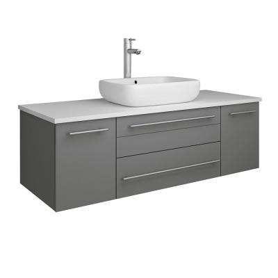 Lucera 48 in. W Wall Hung Bath Vanity in Gray with Quartz Stone Vanity Top in White with White Basin