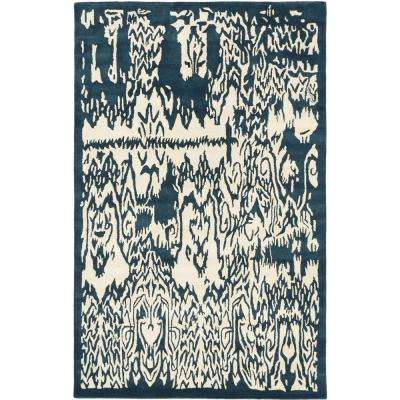 Abstract Art Cream, Turquoise 5 ft. x 8 ft. Area Rug