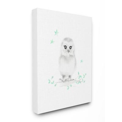 "24 in. x 30 in. ""Cute Cartoon Baby Owl Bird Forest Painting"" by Studio Q Canvas Wall Art"