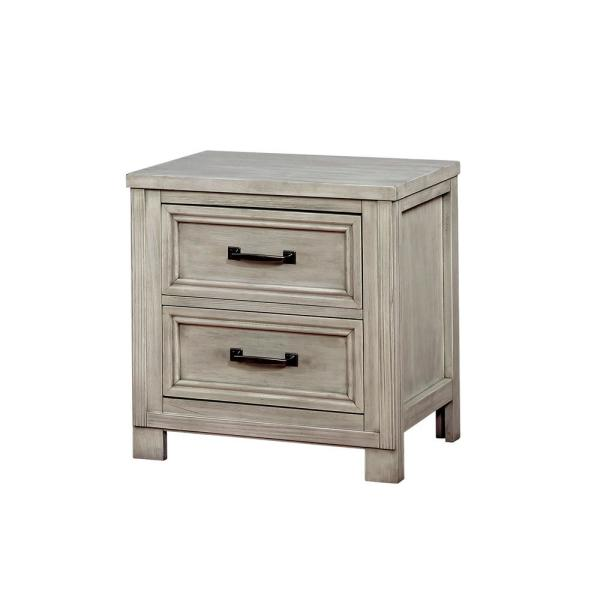 Furniture of America Brody 2-Drawer Antique White Nightstand