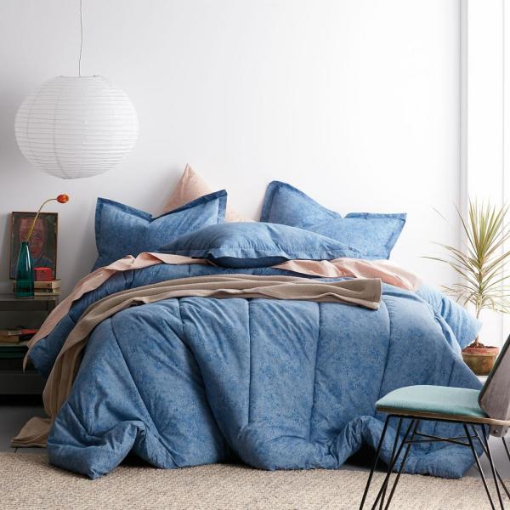 Vintage Wash 3-Piece Blue Solid Organic Cotton Percale King Comforter Set