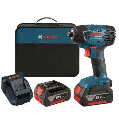 18 Volt Lithium-Ion Cordless Electric 1/4 in. Hex Variable Speed Impact Driver Kit (2) 4.0Ah Batteries