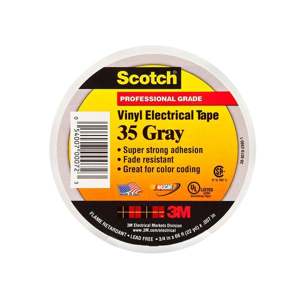 3M Scotch 3/4 in. x 66 ft. Gray Vinyl Electrical Color Coding Tape (Case of 100)