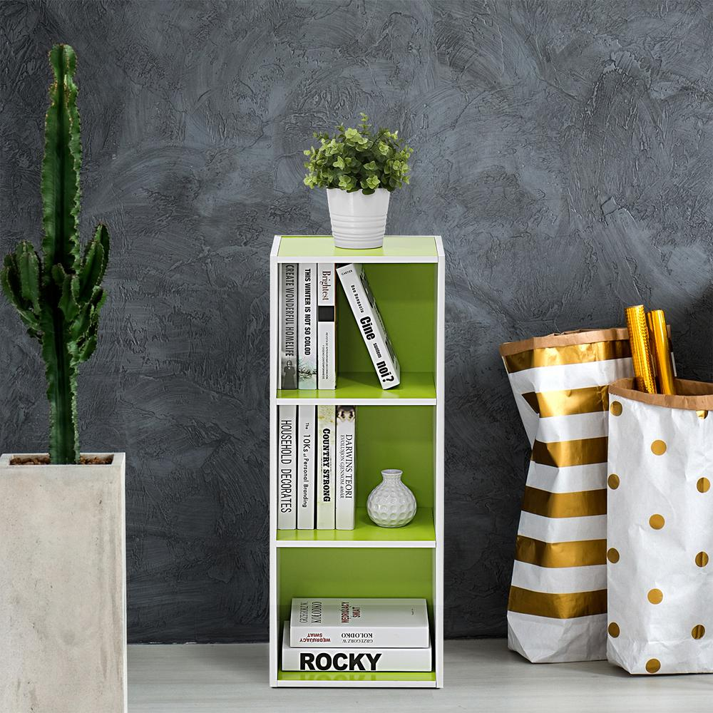 White and Green 3-Tier Open Shelf Bookcase