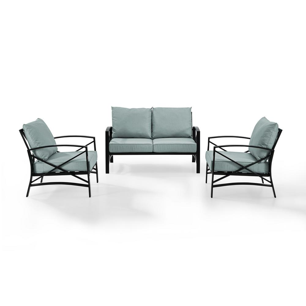 Remarkable Kaplan 3 Piece Metal Patio Outdoor Seating Set With Mist Cushion Loveseat 2 Outdoor Chairs Ocoug Best Dining Table And Chair Ideas Images Ocougorg