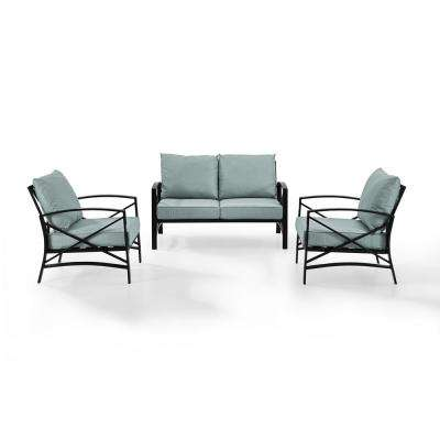 Kaplan 3-Piece Metal Patio Outdoor Seating Set with Mist Cushion - Loveseat, 2-Outdoor Chairs