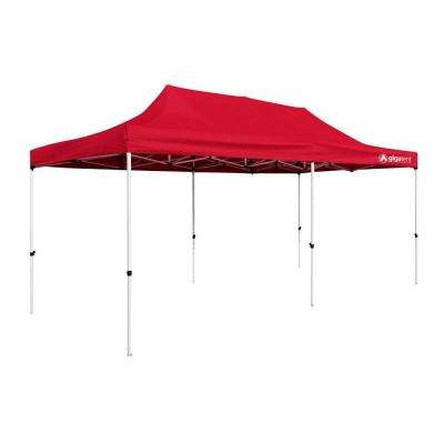 Party Tent 10 ft. x 20 ft. Red Canopy