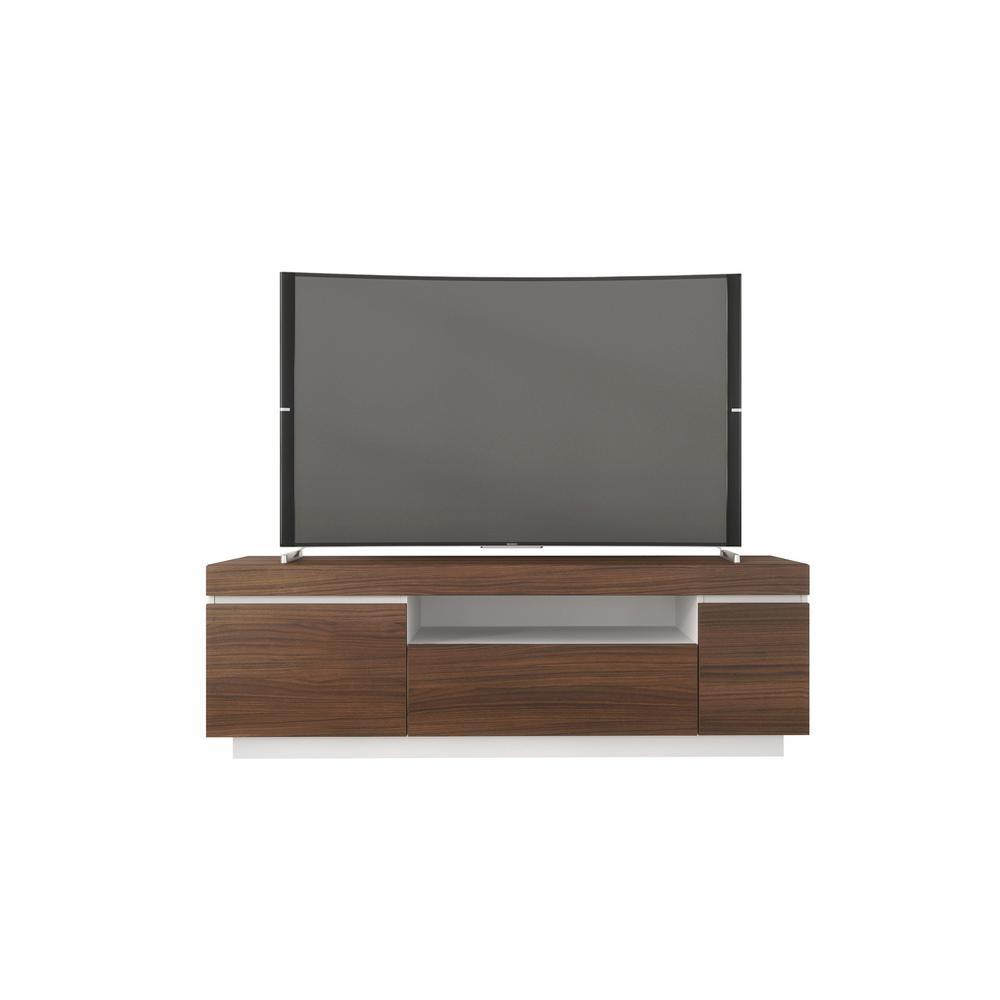 Nexera Cali 60 in. Walnut and White TV Stand