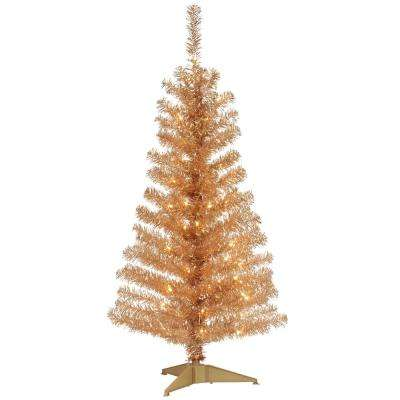 4 Ft Champagne Tinsel Artificial Christmas Tree With Clear Lights