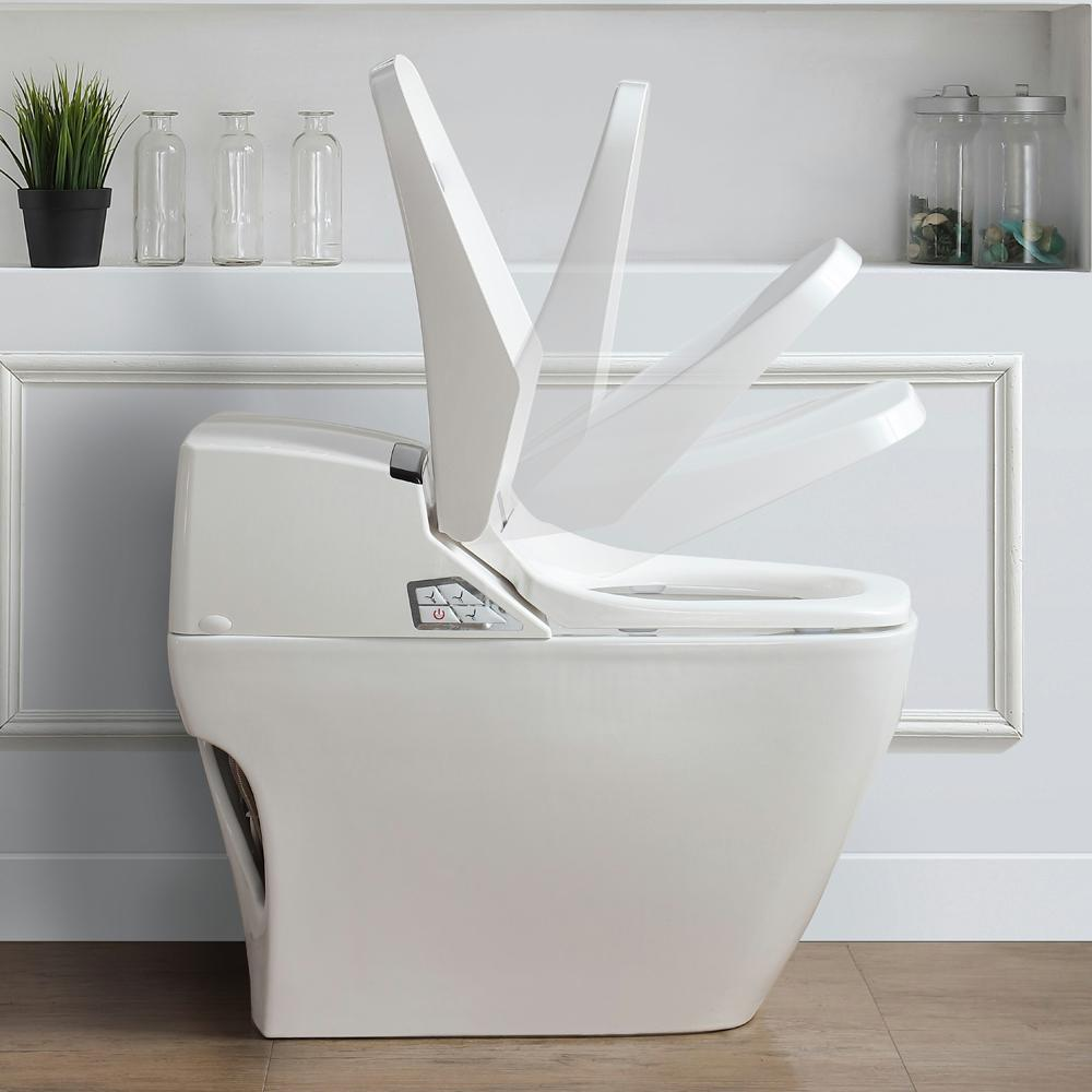 OVE Decors Smart 1-Piece 1.6 GPF Single Flush Elongated Toilet and Bidet with Seat in White