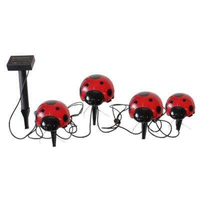 Red Ladybug  4-Light 20 ft. Integrated LED Solar Light Set (4-Piece)