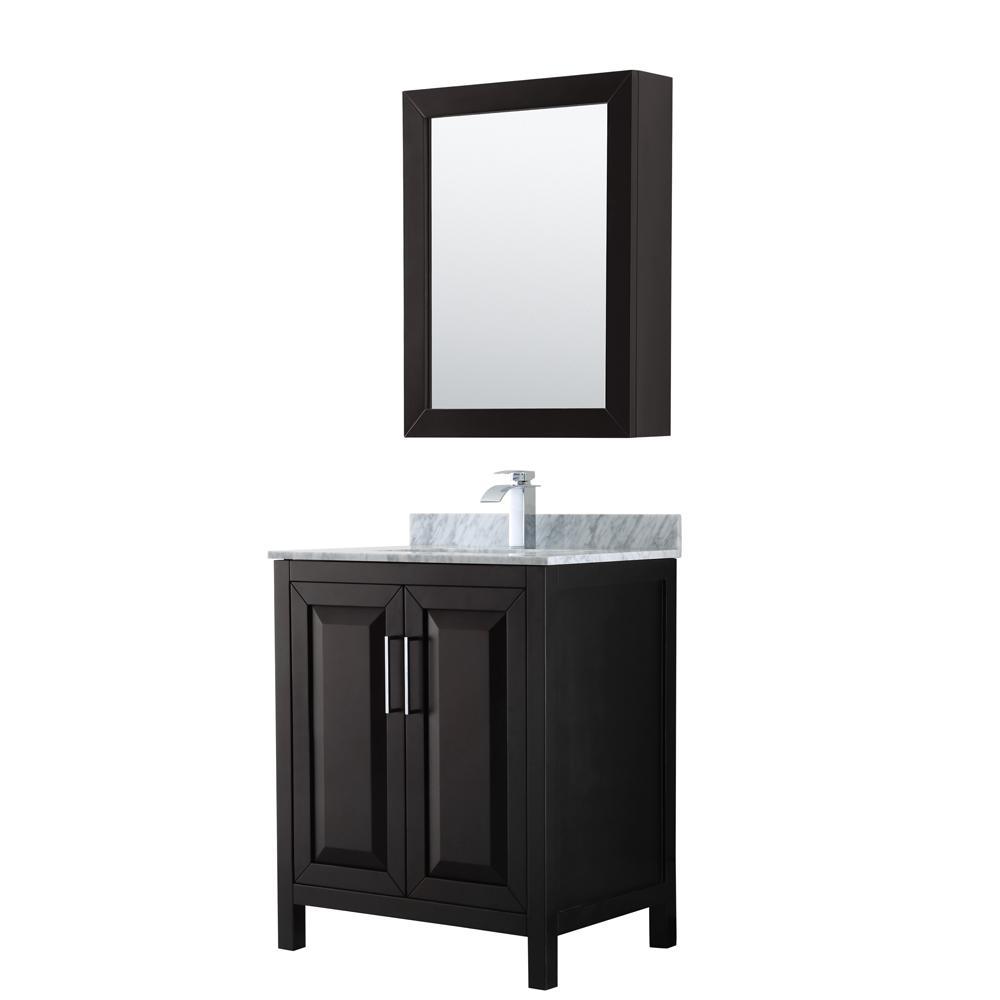 Single Bathroom Vanity in Dark Espresso with Marble Vanity Top
