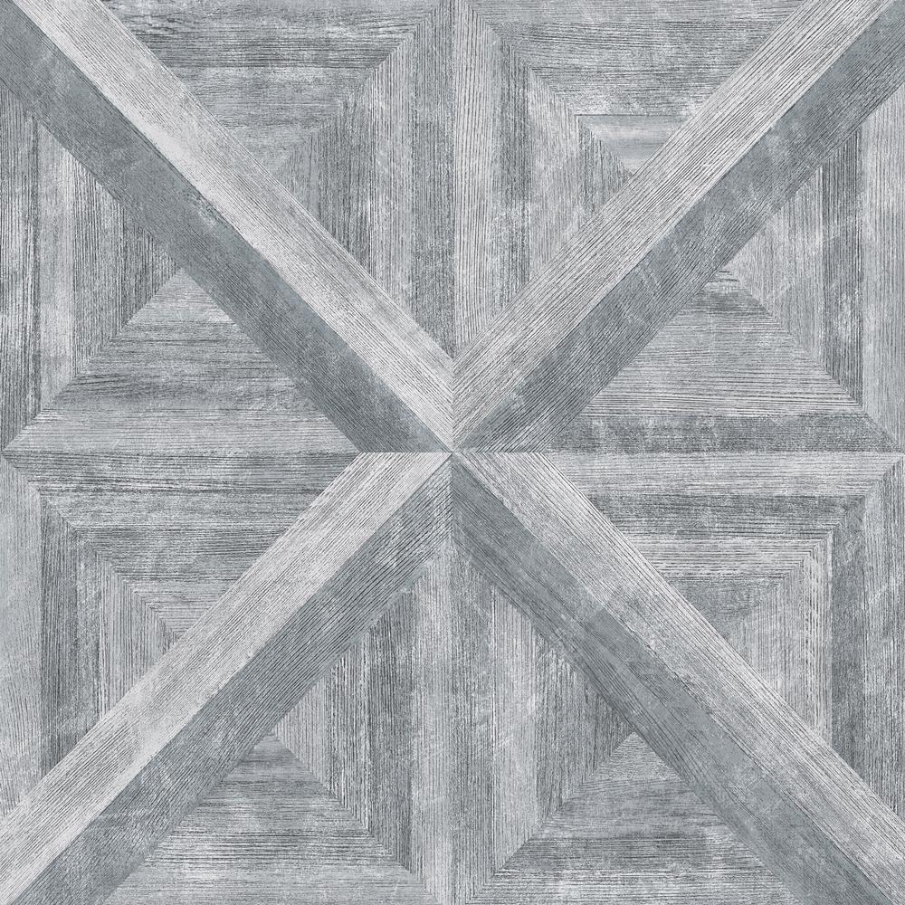 56.4  sq. ft. Carriage House Grey Geometric Wood Wallpaper
