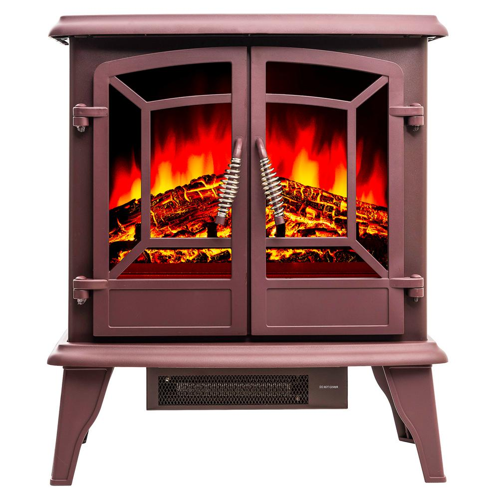 AKDY 400 Sq.ft Electric Stove In Red With Vintage Glass Door Realistic  Flame And