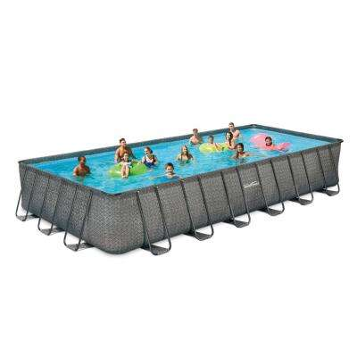 12 ft. x 24 ft. Rectangular 52 in. Deep Elite Metal Frame Pool w/ Sand Filter, Cover, Ladder and Maint. Kit
