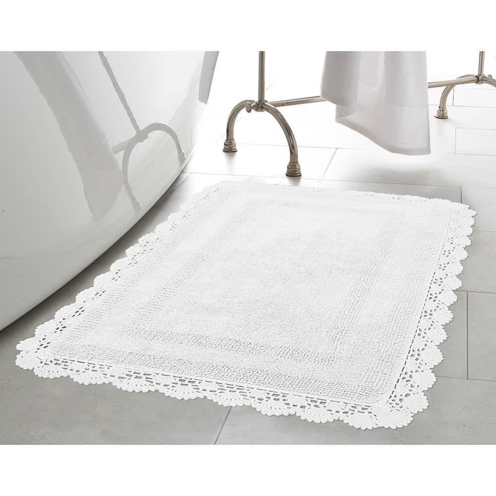 Crochet 100% Cotton 21 in. x 34 in. Bath Rug in White