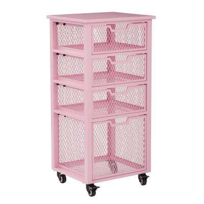Clayton Pink Metal Frame 4-Drawer Rolling Cart