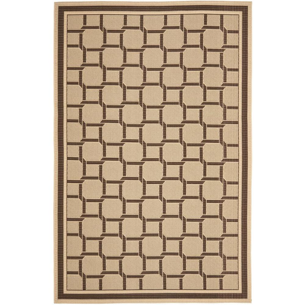 Martha Stewart Living Resort Weave Cream/Chocolate 6 ft. 7 in. x 9 ft. 6 in. Area Rug
