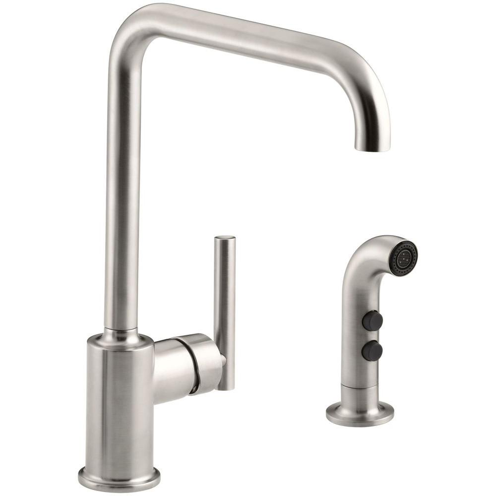 Kohler Purist Single Handle Standard Kitchen Faucet With Side Sprayer In Vibrant Stainless