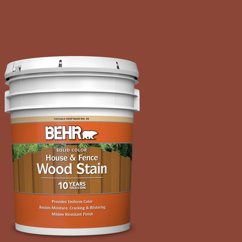 BEHR 5 gal. #SC-330 Redwood Solid Color House and Fence Exterior Wood Stain
