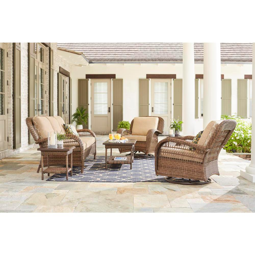 Hampton Bay Beacon Park Brown 5-Piece Wicker Outdoor Deep Seating Set with Toffee Cushions