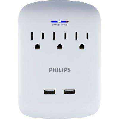 3-Outlet Surge Protector Tap with 2-USB Charging Ports in White
