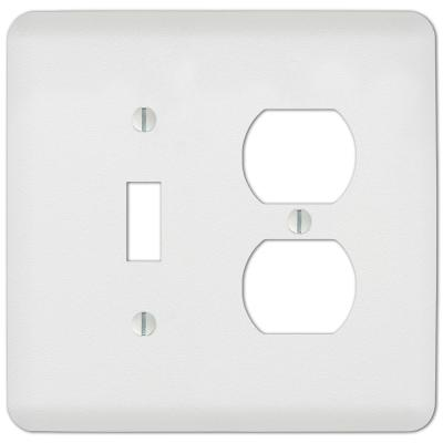 Perry 2 Gang 1-Toggle and 1-Duplex Steel Wall Plate - White