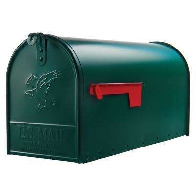 Elite Large Premium Steel Post-Mount Mailbox in Green