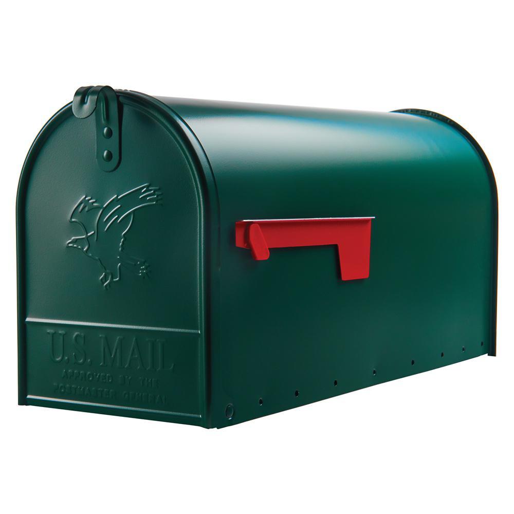 Elite Large, Steel, Post Mount Mailbox, Green