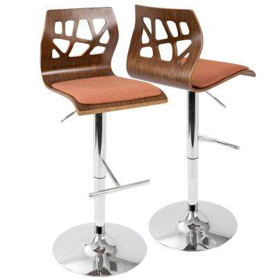 Folia Walnut and Orange Adjustable Barstool