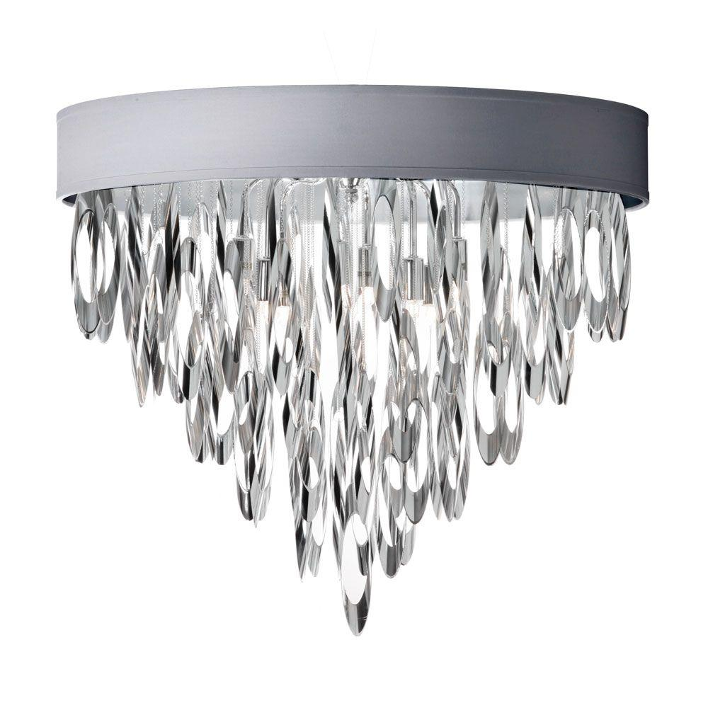 Radionic Hi Tech Allegro 4-Light Polished Chrome Flushmount Chandelier with Silver Shade