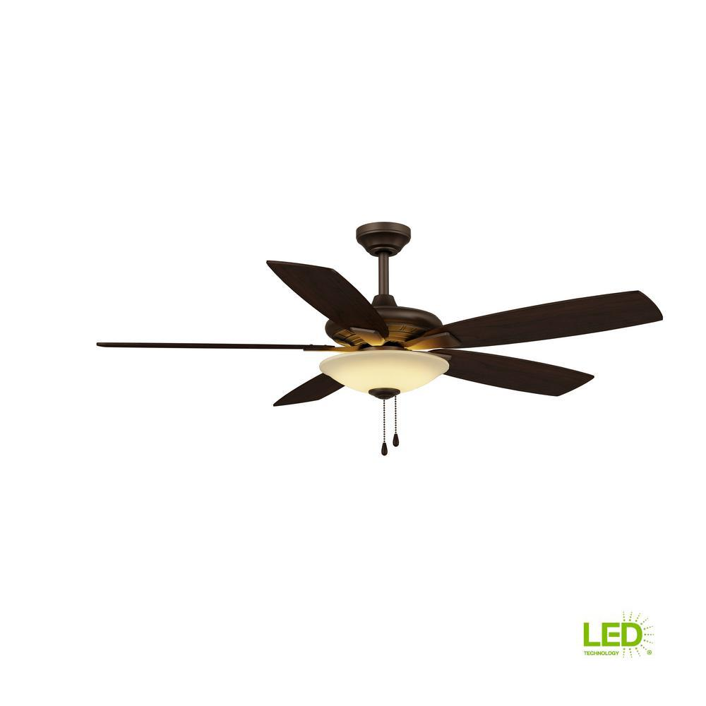 Hampton Bay Menage 52 in. Integrated LED Indoor Low Profile Oil Rubbed  Bronze Ceiling Fan