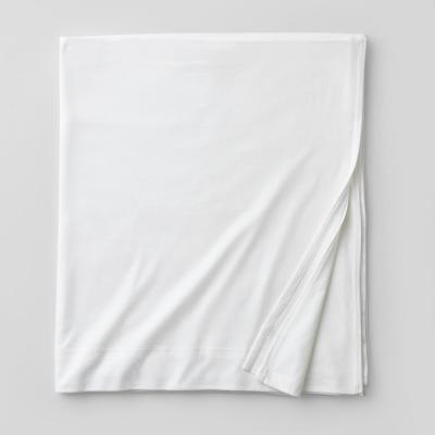 Jersey Knit White Solid Cotton Full Flat Sheet
