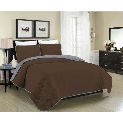 Reversible Austin 3-Piece Brown and Grey Full and Queen Quilt Set