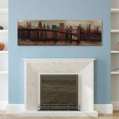 "22 in. x 72 in. ""Bridge to the City 1"" by EAD Art Coop Mixed Media Iron Hand Painted Dimensional Wall Art"