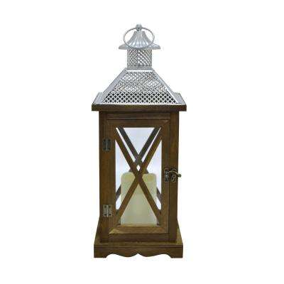 6.75 in. x 6.75 in. Brown Wood/Metal Lantern with LED Candle