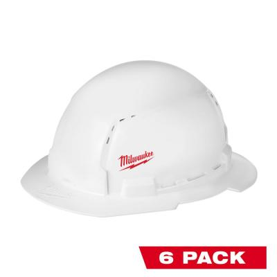 BOLT White Type 1 Class C Full Brim Vented Hard Hat with Small Logo (6-Pack)
