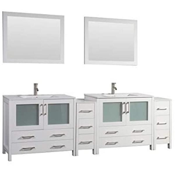 Brescia 96 in. W x 18 in. D x 36 in. H Bathroom Vanity in White with Double Basin Top in White Ceramic and Mirrors